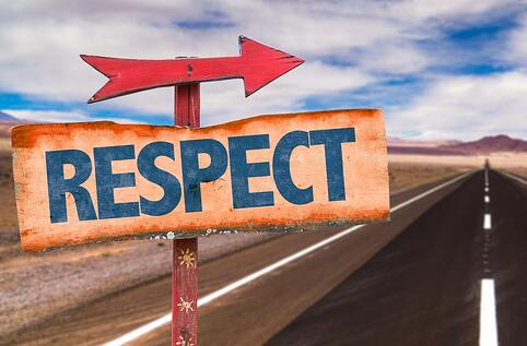 Respect sign with road background