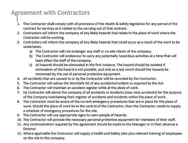 Agreement with Contractors