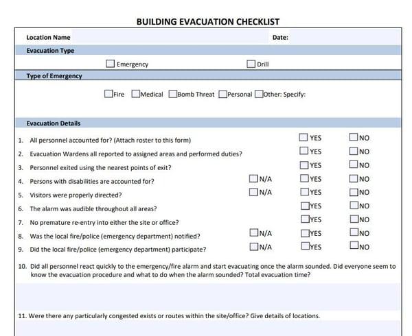 Building Evacuation Checklist