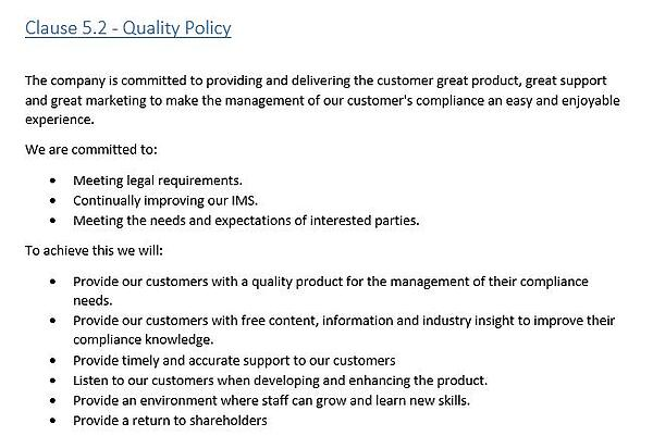 Clause 5.2 Quality