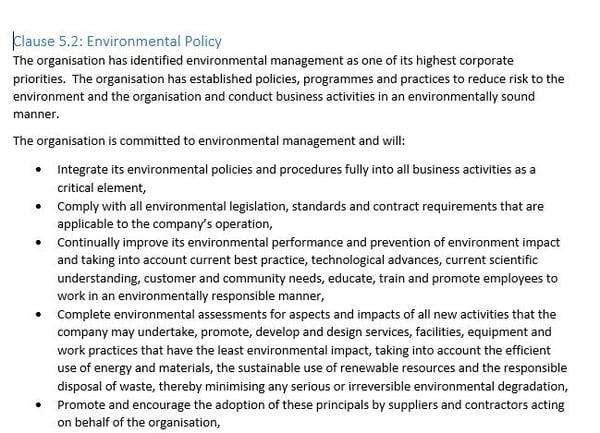 Clause 5.2 environmental