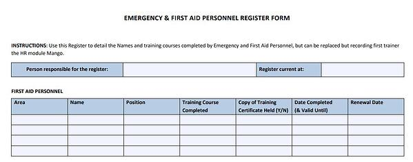 Emergency first aid personnel register