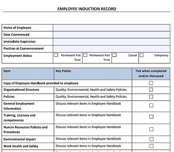 Employee Induction Record
