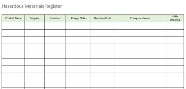Hazardous Materials Register