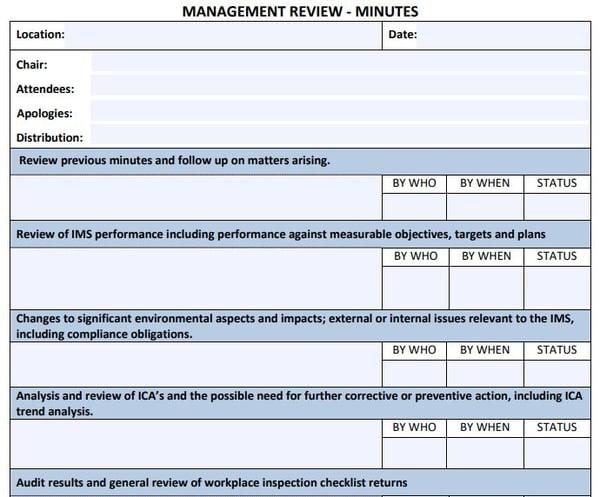 Management review minutes