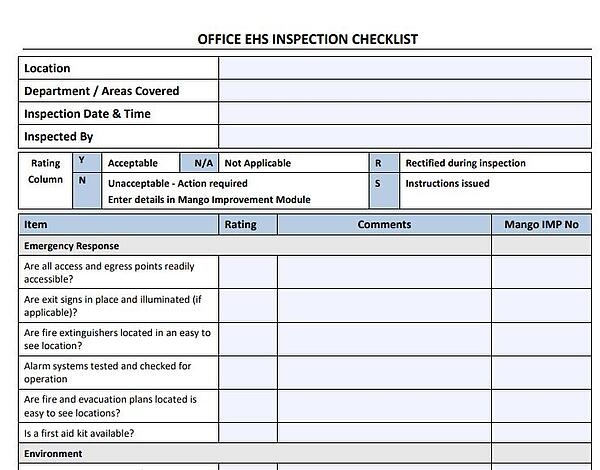 Office inspection checklist