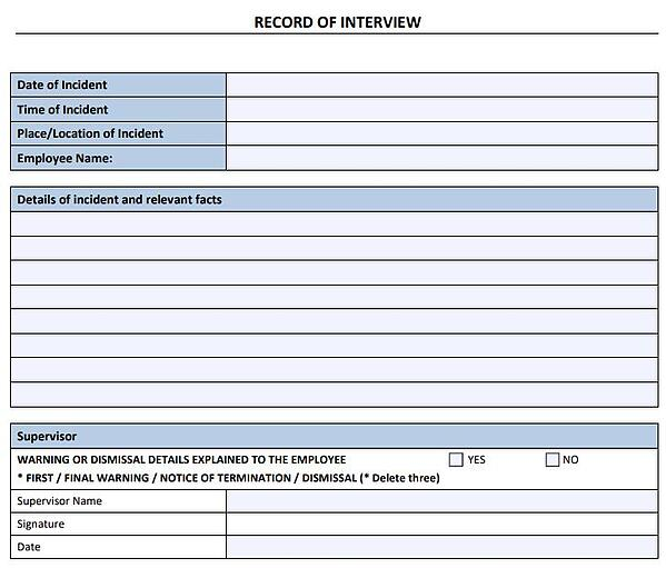 Record of interview