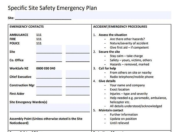 Specific Site Safety Emergency Plan