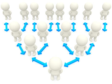 3D people on hierarchy pyramid over a white background
