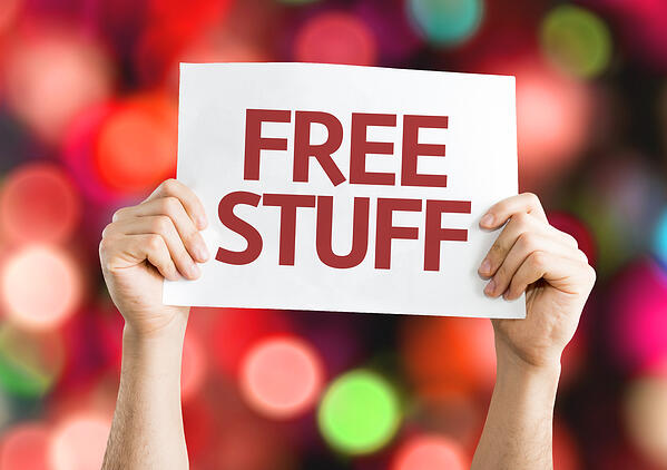 Free Stuff card with colorful background with defocused lights-1