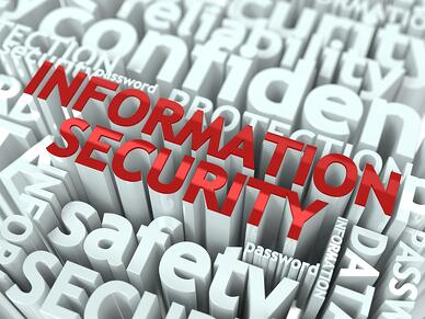 Information Security Concept. Inscription of Red Color Located over Text of White Color.-1