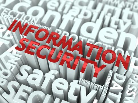 Information Security Concept. Inscription of Red Color Located over Text of White Color.