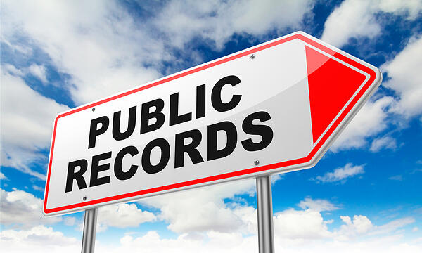 Public Records - Inscription on Red Road Sign on Sky Background.