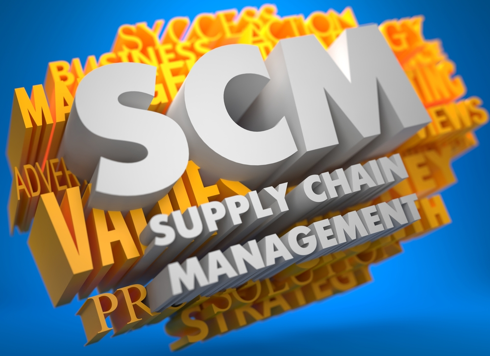 SCM - Supply Chain Management. The Words in White Color on Cloud of Yellow Words on Blue Background.