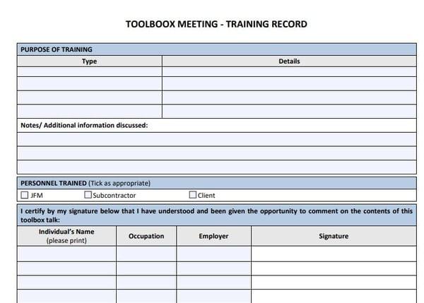 Toolbox Meeting Training