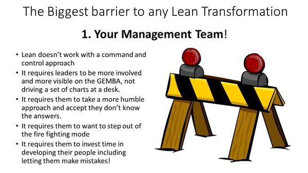 Lean webinar - Barrier to lean