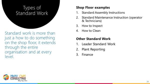 Lean webinar - Types of standard work