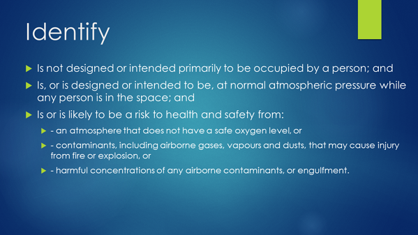 Confined Space - Identify