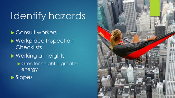 Falls - identify hazards