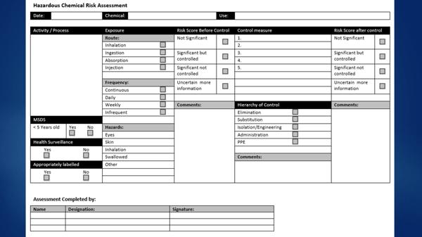 Hazardous Chemical - detailed risk assessment form