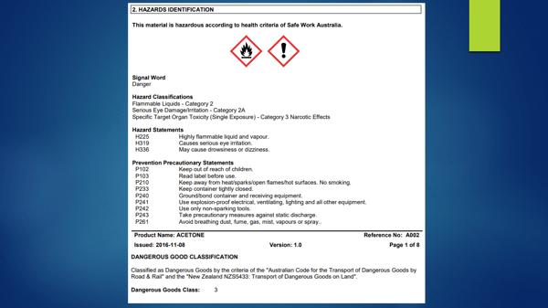 Hazardous Chemicals - safety data sheet